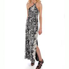Black and White Text Print Dress